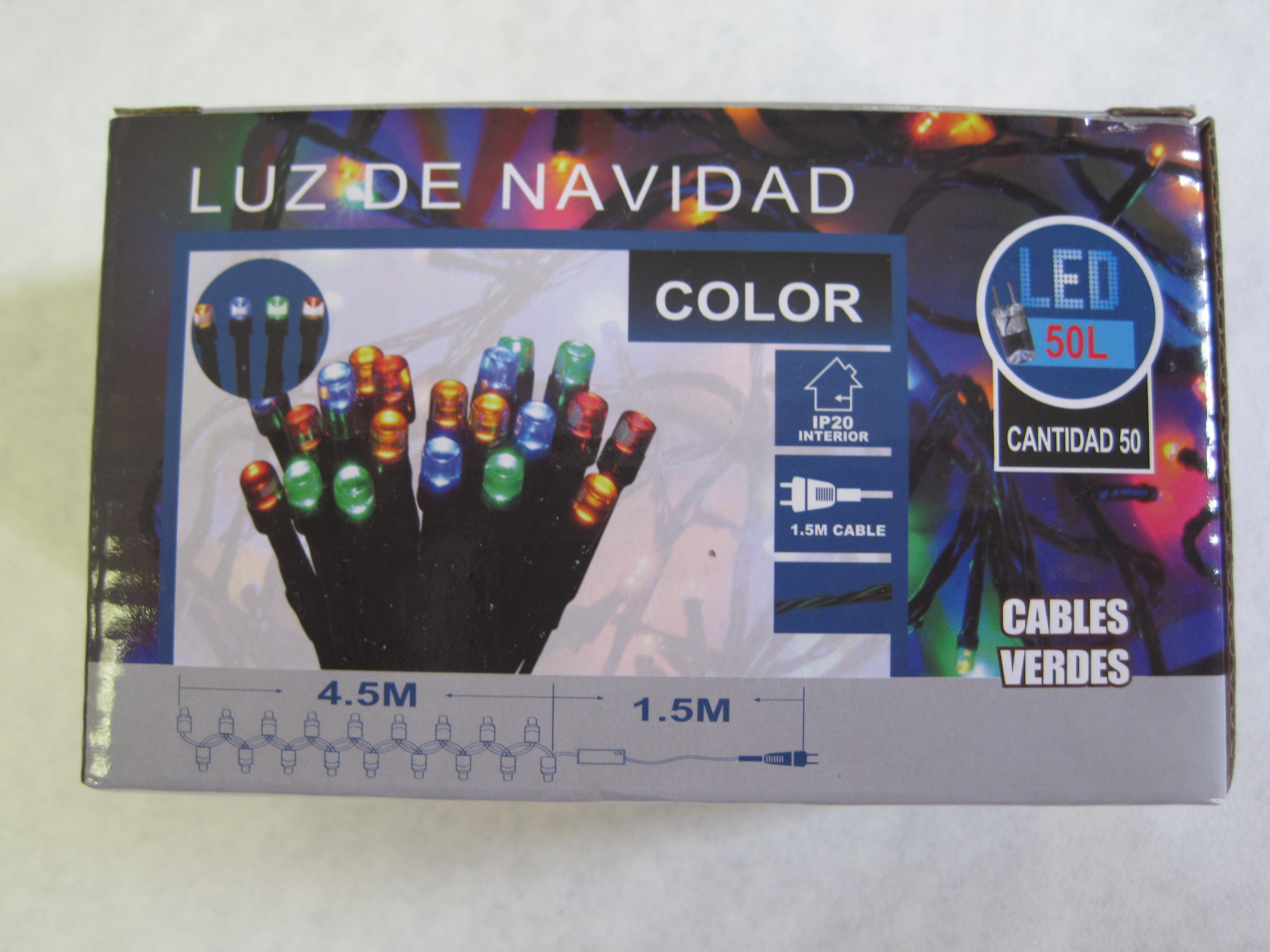 GUIRNALDA LUMINOSA DE 50 LUCES DE COLORES
